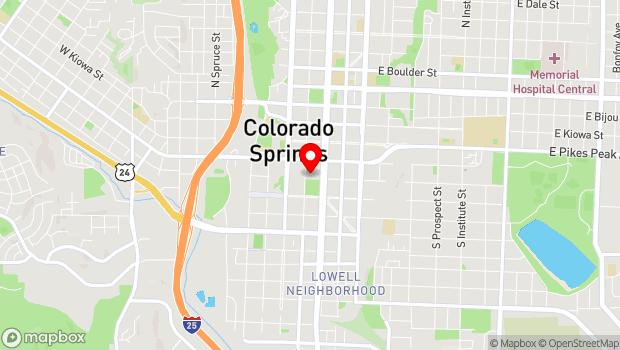 Google Map of 121 S. Tejon St., Colorado Springs, CO 80903