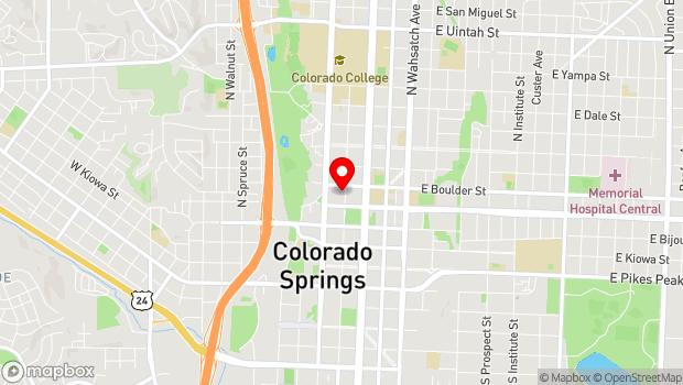 Google Map of 322 N. Tejon, Colorado Springs, CO 80903