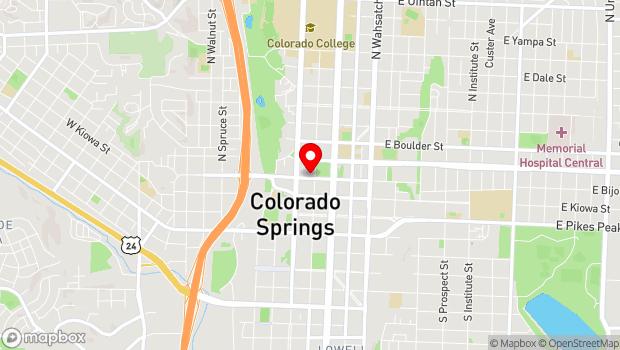 Google Map of 206 North Tejon St., Colorado Springs, CO 80903