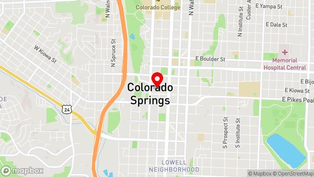 Google Map of 20 N. Tejon Street, Colorado Springs, CO 80903