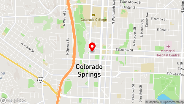 Google Map of 16 East Platte Avenue, Colorado Springs, CO 80903-1221