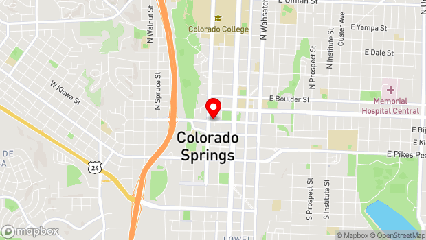 Google Map of 10 E. Bijou St., Colorado Springs, CO 80903