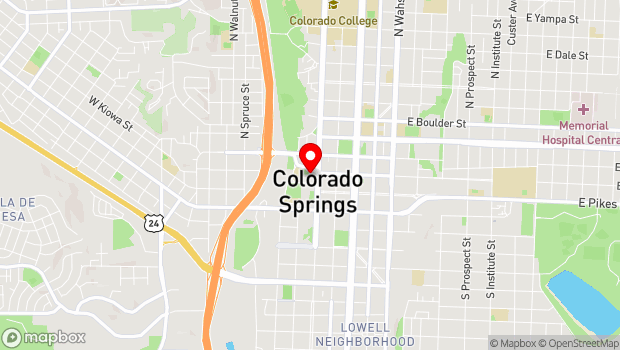 Google Map of 20 N. Cascade Ave., Colorado Springs, CO 80903