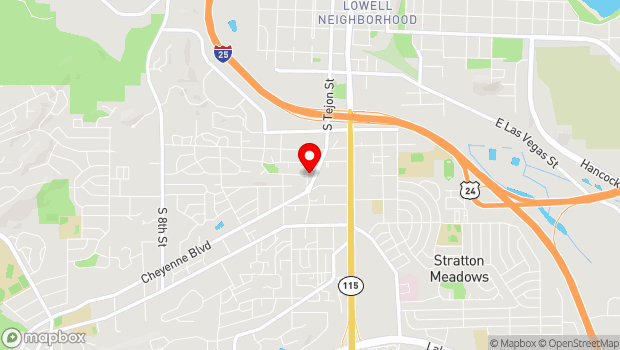 Google Map of 1626 South Tejon Street, Colorado Springs, CO 80905