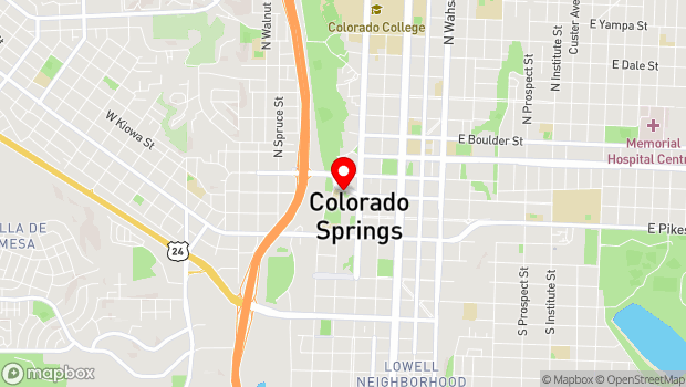 Google Map of 25 W Kiowa St, Colorado Springs, CO 80903