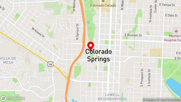 Google Map of 10 N Sierra Madre St, Colorado Springs, CO 80903