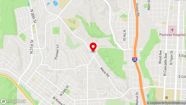 Google Map of 1945 Mesa Rd, Colorado Springs, CO 80904