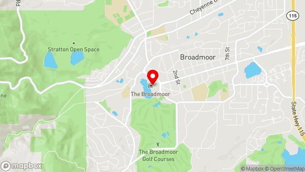 Google Map of Broadmoor Hotel, 1 Lake Circle, Colorado Springs, CO 80906