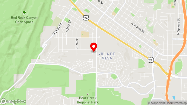 Google Map of 1367 Pecan St., Colorado Springs, CO 80904