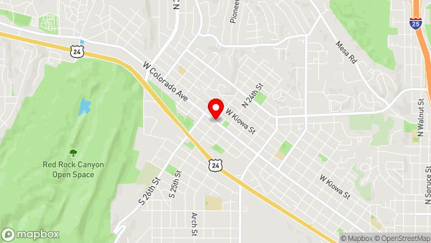 Google Map of Colorado Ave & 25th St, Colorado Springs, CO 80904