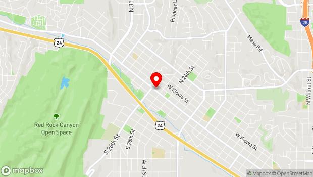 Google Map of 2520 West Colorado Ave., Colorado Springs, CO 80904