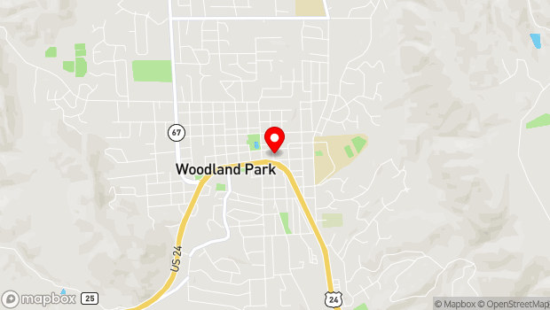 Google Map of 210 E. Midland Ave., Woodland Park, CO 80863