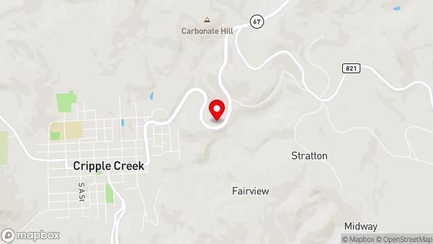 Google Map of 9283 South CO-67, Cripple Creek, CO 80813