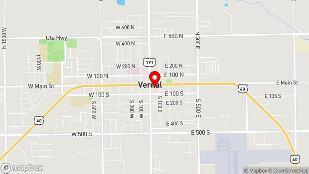 Google Map of 40 East Main Street, Vernal, UT 84078