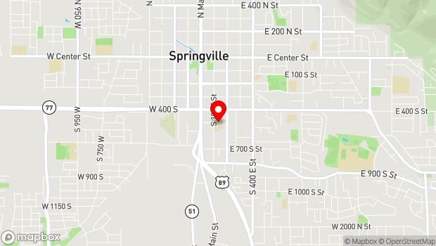 Google Map of 126 East 400 South, Springville, UT 84663