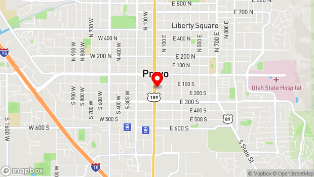 Google Map of 151 S University Ave, Provo, UT 84601