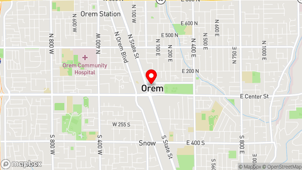 Google Map of 58 North State Street, Orem, UT 84057