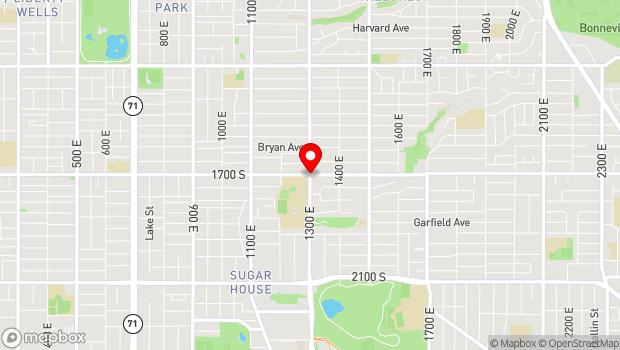 Google Map of 1700 South 1300 East, Salt Lake City, UT 84105