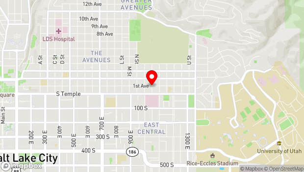 Google Map of East First Avenue and P Street, Salt Lake City, UT 84103