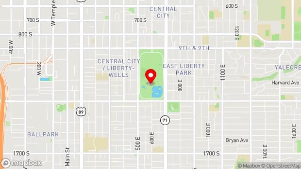 Google Map of Liberty Park, 600 East 1100 South, Salt Lake City, UT 84105