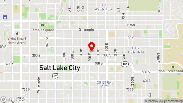 Google Map of 241 South 500 East, Salt Lake City, UT 84102