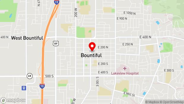 Google Map of 90 North Main Street, Bountiful, UT 84010