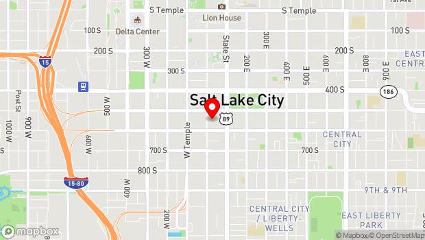 Google Map of 555 South Main Street, Salt Lake City, UT 84111