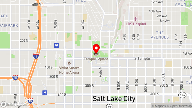 Google Map of 50 West North Temple, Salt Lake City, UT 84150