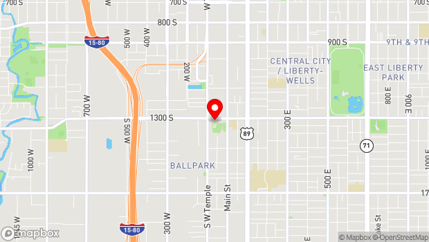 Google Map of 77 West 1300 South, Salt Lake City, UT 84115