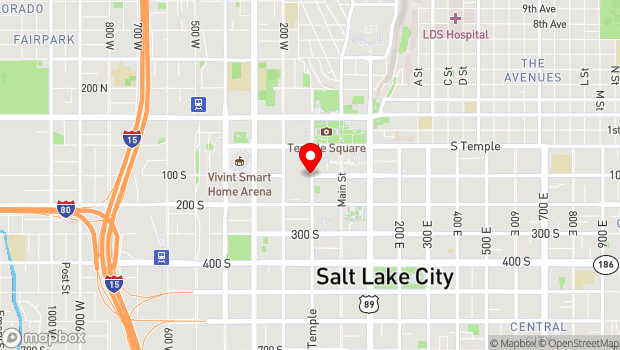Google Map of 100 South West Temple, Salt Lake City, UT 84101