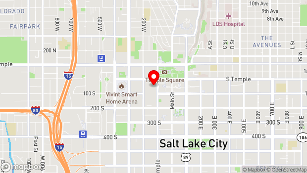 Google Map of 20 South West Temple, Salt Lake City, UT 84101