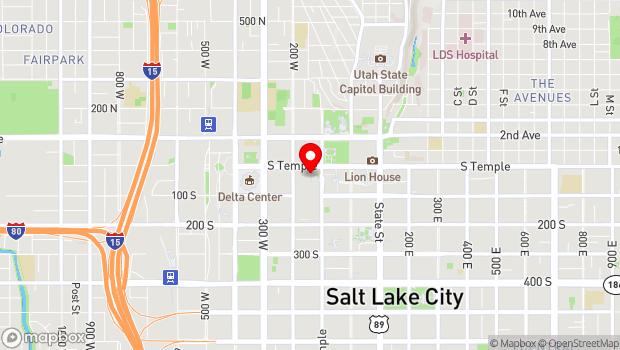 Google Map of 123 West South Temple, Salt Lake City, UT 84101