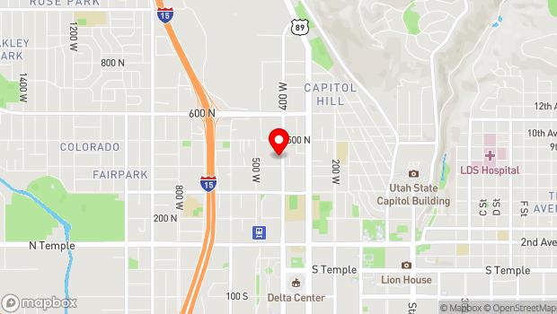 Google Map of 425 North 400 West, Salt Lake City, UT 84103