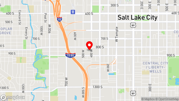 Google Map of 824 South 400 West, Salt Lake City, UT 84101