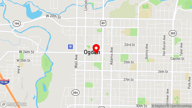 Google Map of 25th Street between Wall Avenue and Washington Boulevard, Ogden, UT 84401