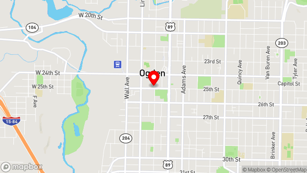 Google Map of 25th Street Wall Avenue to Grant Avenue, Ogden, UT 84401