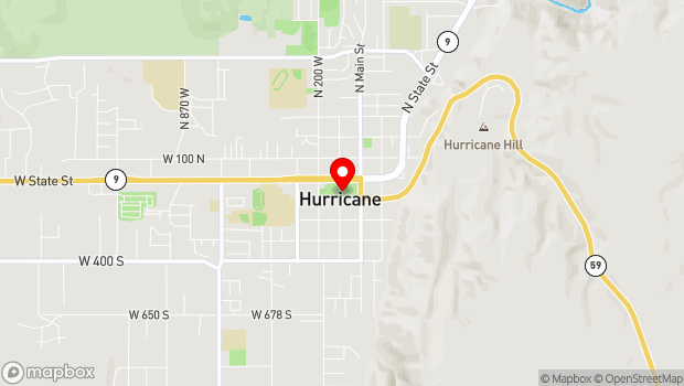 Google Map of 92 South 100 West, Hurricane, UT 84737
