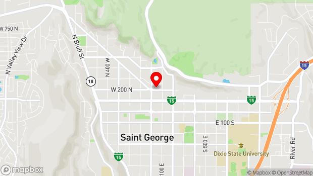 Google Map of 47 North 200 East, Saint George, UT 84770