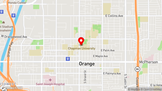 Google Map of One University Drive, Orange, CA 92866