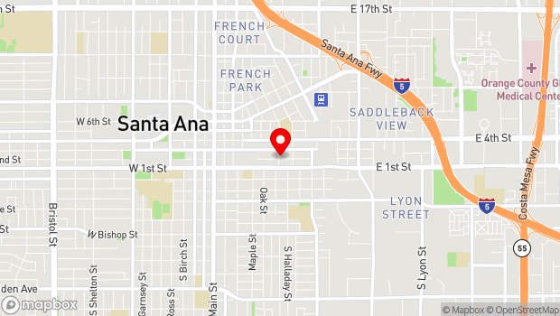 Google Map of Santa Ana, CA 92701