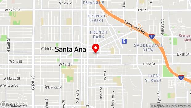 Google Map of 305 East 4th St., Santa Ana, CA 92701