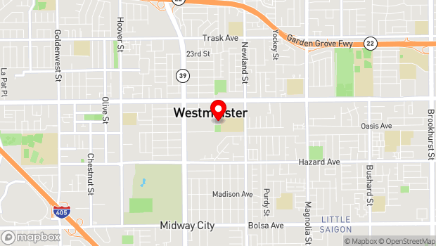 Google Map of 14140 All American Way, Westminster, CA 92683
