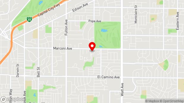 Google Map of 3020 Marconi Ave., Sacramento, CA 95820