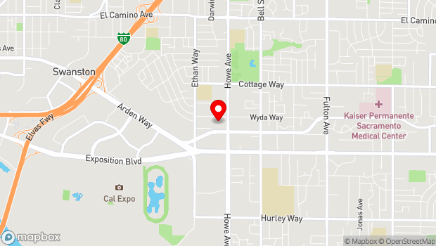 Google Map of 1833 Howe Avenue, Sacramento, CA 95821