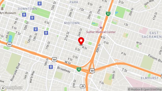 Google Map of 2509 R St., Sacramento, CA 95816