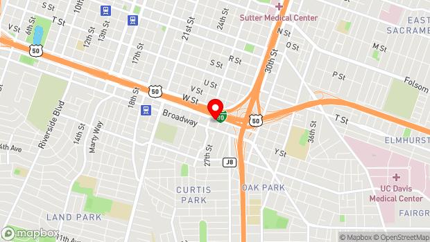 Google Map of 2618 X St., Sacramento, CA 95818
