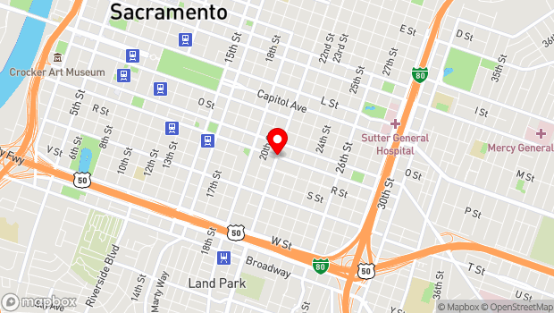 Google Map of 21st St and Q St, Sacramento, CA 95814