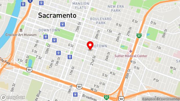 Google Map of Midtown, Sacramento, CA 95816