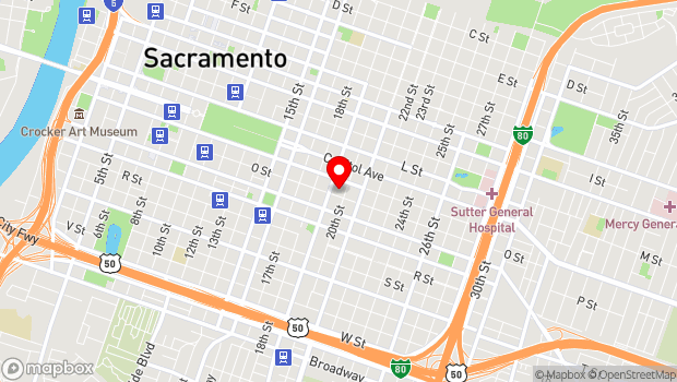 Google Map of Midtown, Sacramento, CA 95816