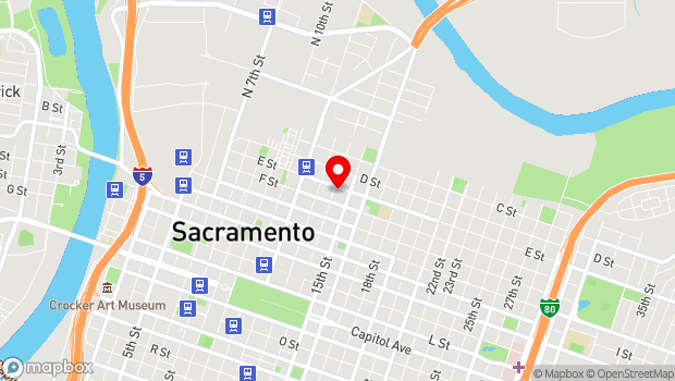 Google Map of 1400 E Street, Sacramento, CA 95814